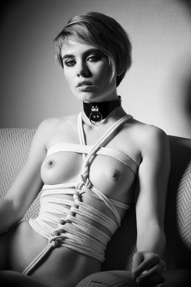 how to make a girl love you more BlackAndWhite Artisctic Sensual Submissive Handcuffs Armsback Bondage Chained Corset PerfectBoobs RoundMounds Collared Bdsmdoll