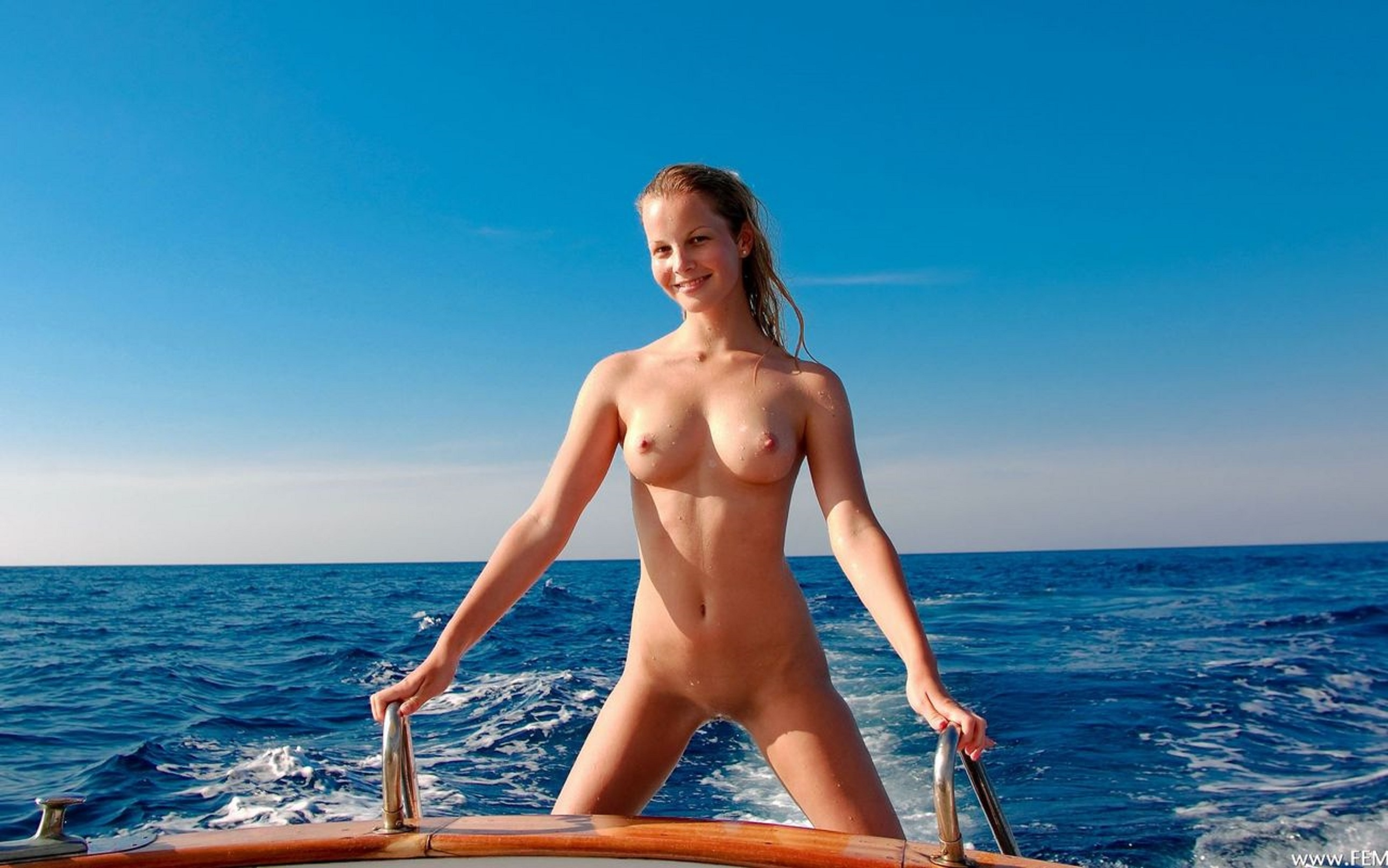 amateur swinging wife shared with two black guys from the internet #outdoor #smile #happy #model #posing #boat #boating #outdoors #nature #slim #blonde #wet #nudist